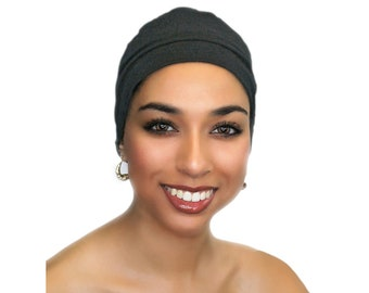 Charcoal Gray Chemo Hat, Sleep Hat, Alopecia Cap, Scarf Liner, Slouch Hat, Jersey Knit