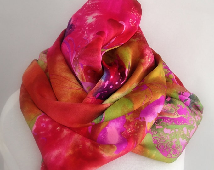 Silk Charmeuse Infinity Scarf, Circle Scarf, Silk Scarf,  Pink