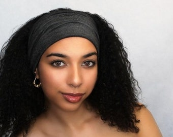 ON SALE Save 25% Charcoal Gray Turban Head Band, Yoga headband, Wide Headband, Pretied Turban, Chemo Hat 298-18a