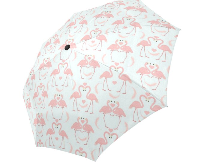 Automatic Open/Close Umbrella, Gift, Flamingo, Pink, Heart