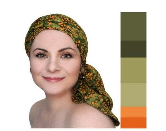 RETIREMENT SALE Olive Green Orange Chemo Turban, Batik Head Wrap, , Chemo Hat, Cancer Hat & Scarf Set by Turban Diva, Gift for Cancer Surviv