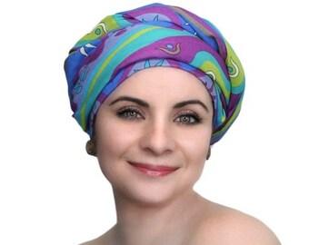 RETIREMENT SALE Turban Diva Fiesta Green Turban Head Wrap, Chemo Hat, Head Wrap Alopecia ScarfBoho, Gypsy, One Piece Fitted Wrap 331-36