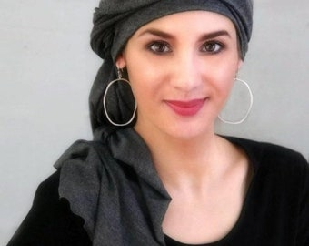 ON SALE Save 30% Charcoal Gray Turban, Chemo Hat, Head Wrap, Alopecia Scarf, Dreads wrap, One Piece Fitted Turban, Jersey Knit Head Wrap