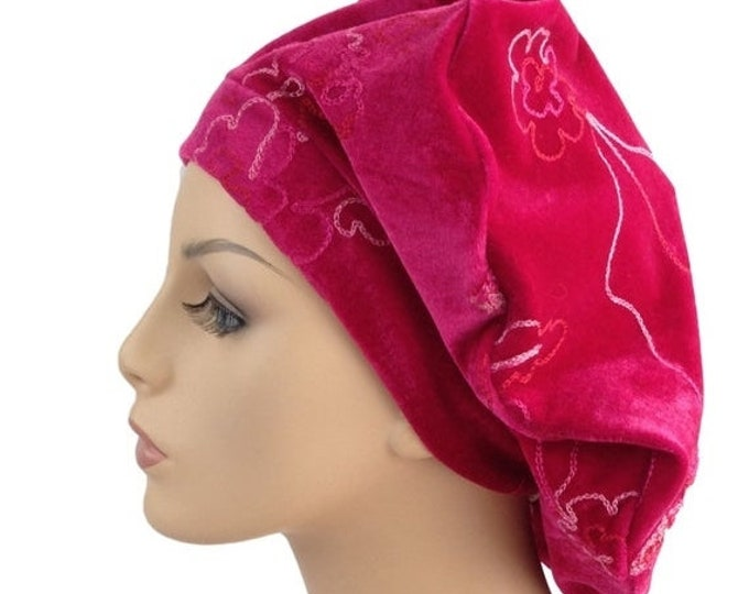 RETIREMENT SALE Oversize 13 inch Beret, Hot pink Embroidered Velvet Beret, Chemo Hat, French Beret, Large Beret, Slouchy Hat