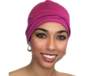 ON SALE Save 25% Fuchsia Chemo Hat, Sleep Hat, Alopecia Cap, Cloche, Scarf Liner, Slouch Hat, Hot Pink, Modal Knit, Ladies' Beanie