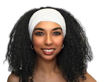 Creme Turban Headband, Ivory Turban Headband, Yoga headband, Wide Headband, Exercise Headband, Pretied Turban 299-07a