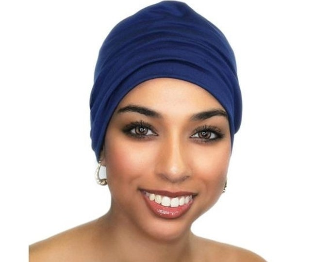 ON SALE Save 25% Royal Blue Chemo Hat, Casual Hat, Volumizer, Sleep Hat Alopecia Cap,Scarf Liner Slouch Hat, Pretied Turban