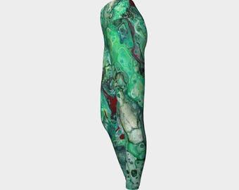 "Yoga Leggings ""Ruby Malachite 2"" Pattern 903a, Yoga Pants, Green, black, red, gray, Wearable art"