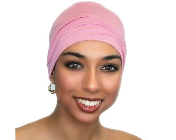 ON SALE Save 25% Chemo Hat, Sleep Hat, Alopecia Cap, Cloche, Scarf Liner, Slouch Hat, Rose Pink, Modal Knit