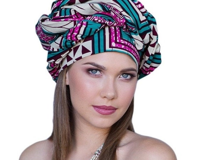 RETIREMENT SALE African Wax Print Turban Dreads Wrap, Turquoise Teal Pink Black Head Wrap, Alopecia Scarf, Chemo Hat, Boho Gypsy Tribal, 1 P