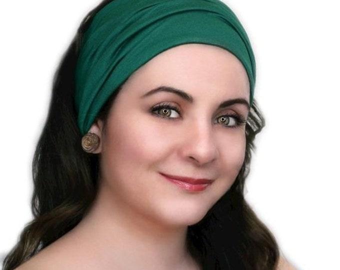 ON SALE Save 25% Turban Head Band, Yoga headband, Wide Headband, Exercise Headband, Pretied Turban, Emerald  Green
