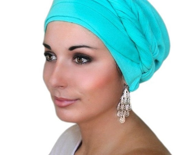 Featured listing image: 25% YEAR END SALE Turban Diva Turban DivaTurban, Head Wrap, Chemo Hat, Alopecia Scarf, Jade Cotton Gauze, Turquoise Turban, Hat & Scarf Set