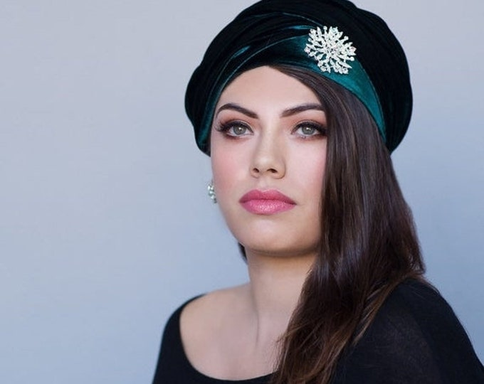 ON SALE Save 30% Turban Diva Emerald Green Velvet Turban, Head Wrap, Chemo Hat, Alopecia ScarfOne Piece Fitted Wrap 332-01