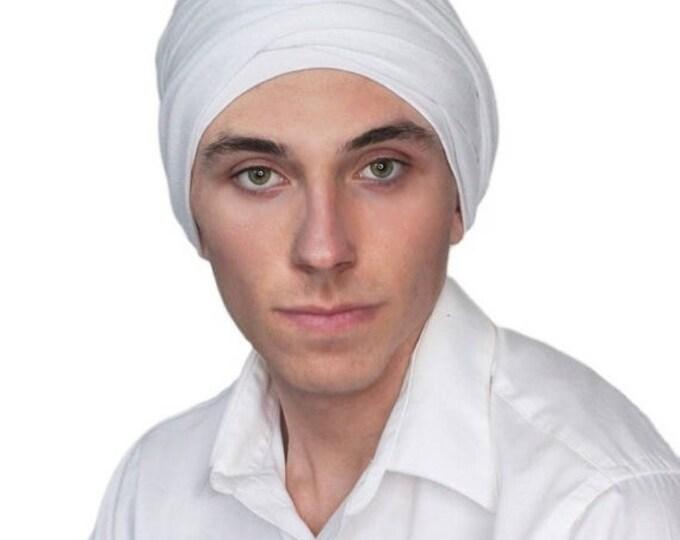 ON SALE Save 30% Men's Turban, Man's Head Wrap, Dreads Wrap, Ski Hat, Motorcycle Scarf, Man's Ivory Turban, Off-white Turban, Tactical Scarf