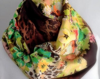 RETIREMENT SALE Save 50% Brown Floral Silky Infinity Scarf, Circle Scarf,  Accessories, Boho Scarf, Gift for Her 800-14