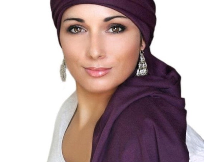 ON SALE Save 30% Turban Diva Plum Turban, Purple Turban, Jersey Knit Head Wrap, Chemo Hat, Alopecia ScarfOne Piece Wrap