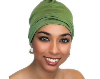 ON SALE Save 25% Olive Green Chemo Hat, Sleep Hat, Alopecia Cap, Scarf Liner, Slouch Hat, Jersey Knit