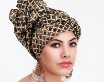 Gray Gold Basketweave Turban Head Wrap, Alopecia Scarf, Chemo Hat, Boho Gypsy Tribal,  Dreads Wrap, One Piece Fitted, Cotton Turban