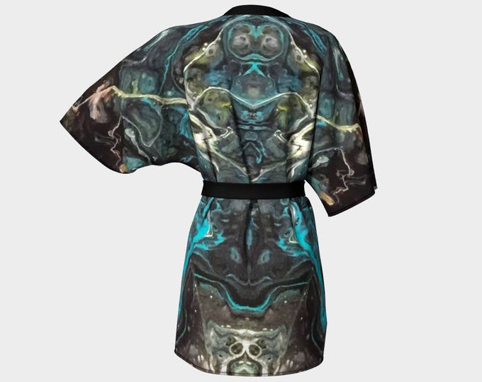 Kimono Robe, Dressing Gown, Teal, Turquoise, Black, Blue, Lounge Wear, Boho, Black Agate Pattern 615