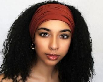 ON SALE Save 25% Rust Turban Headband, Yoga headband, Wide Headband, Pretied Turban, Chemo Hat 298-32a