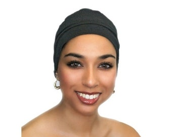 ON SALE Save 25% Charcoal Gray Chemo Hat, Sleep Hat, Alopecia Cap, Scarf Liner, Slouch Hat, Jersey Knit