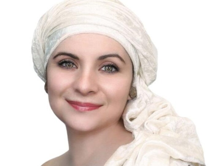 RETIREMENT SALE Turban Diva Winter White Velvet Turban, Head Wrap, Chemo Hat, Alopecia ScarfOne Piece Fitted