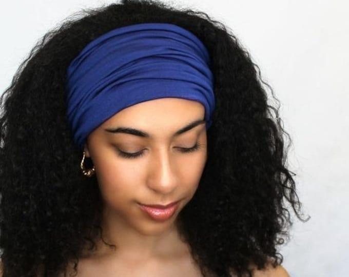 RETIREMENT SALE Royal Blue Turban Head Band, Yoga headband, Wide Headband, Exercise Headband, Pretied Turban, Cobalt 298-15a