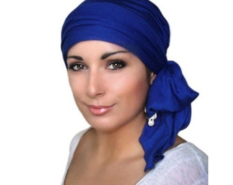 ON SALE Save 30% Royal Blue Turban Chemo Hat Head Wrap Alopecia Head Scarf, Jersey Knit Hat & Scarf Set