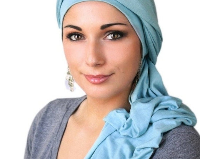 RETIREMENT SALE Turban Diva Light Blue Turban Head Wrap Chemo Hat  One Piece Wrap, Fitted, Jersey Knit Head Wrap