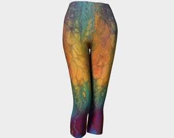 "Classic Capri Leggings ""Firefall"" Pattern 851 teal, turquoise, orange, black, pink, green, gray, Wearable art"