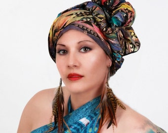 Turban, Chemo Hat, Dreads Wrap, Head Wrap, Alopecia Scarf,  Boho Gypsy Tribal, Aztec Rainbow, One Piece Fitted Wrap, Cotton Turban