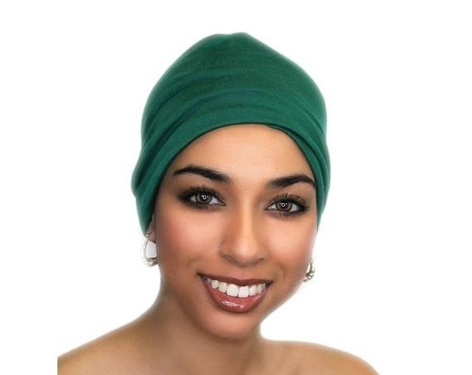 RETIREMENT SALE Chemo Hat, Sleep Hat, Alopecia Cap, Cloche, Pretied Turban, Scarf Liner, Slouch Hat, Emerald Green, Rayon Knit