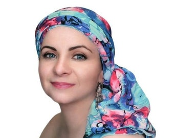 ON SALE Save 30% Turban Diva Blue Pink White Floral Head Wrap, Cancer Turban Chemo Hat Alopecia Scarf, Hat & Scarf Set