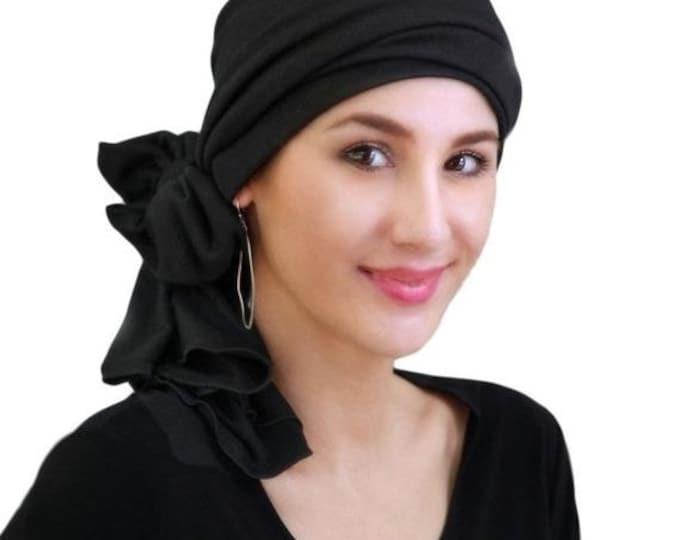 RETIREMENT SALE Turban Diva Black Turban, Head Wrap, Chemo Hat, Alopecia Head Scarf, Jersey Knit Hat & Scarf Set