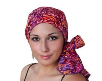 RETIREMENT SALE Turban Diva Fan the Flames Purple Coral Turban Chemo Hat Head Wrap Alopecia Scarf Batik Boho, Chemo Turban, Hat & Scarf Set