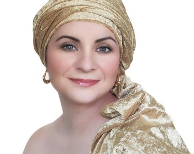 ON SALE Save 30% Turban Diva Gold Velvet Turban, Head Wrap, Chemo Hat, One Piece Wrap, Fitted Turban