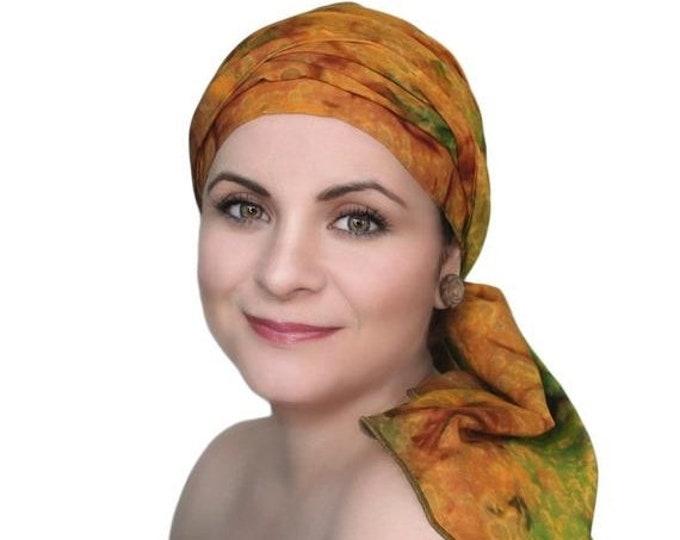 RETIREMENT SALE Save 50% Gold Olive Green Rust Chemo Turban Hat Set, Batik Head Wrap Alopecia Scarf, Chemo Hat, Cancer Hat & Scarf Set