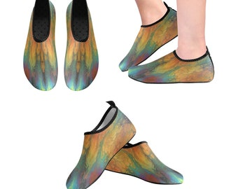 Yoga Shoes, Barefoot Shoes, Women's Shoes, Kids Shoes, Flat Shoes, Slip-ons, Casual Shoes, Green, Teal, Orange, Gold, Abstract Art Shoes
