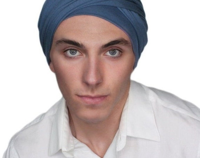 ON SALE Save 30% Men's Turban, Man's Head Wrap, Dreads Wrap, Ski Hat, Motorcycle Scarf, Man's Smoky Denim Blue Turban, Tactical Scarf 400-17