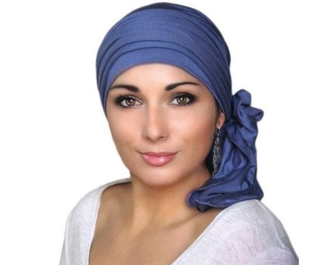 RETIREMENT SALE Smoky Blue Turban, Pretied Turban, Denim Blue, Head Wrap, Alopecia Chemo Head Scarf, Jersey Knit Hat & Scarf Set, Gift, Chem