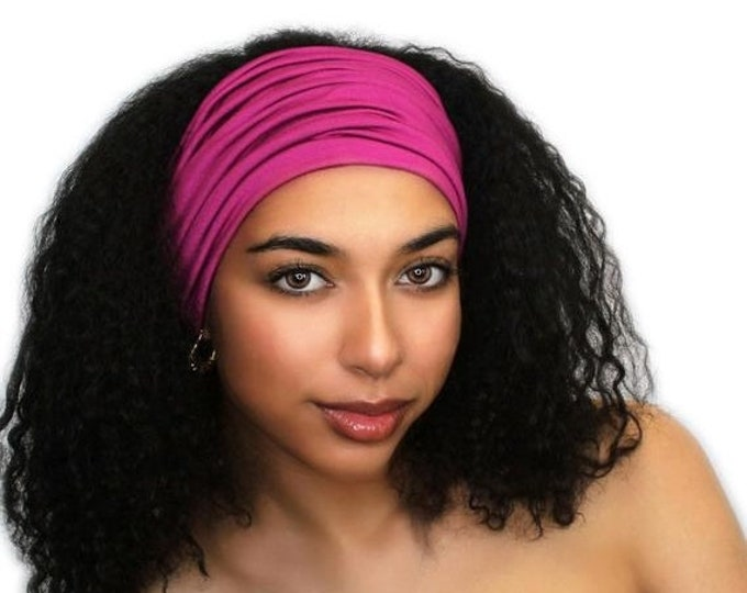 ON SALE Save 25% Fuchsia Turban Head Band, Yoga headband, Wide Headband, Exercise Headband, Pretied Turban, Hot Pink