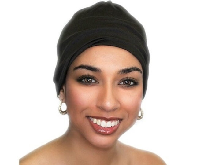 ON SALE Save 25% Black Chemo Hat, Sleep Hat, Alopecia Cap, Cloche, Scarf Liner, Slouch Hat, Rayon Knit, Pretied Turban