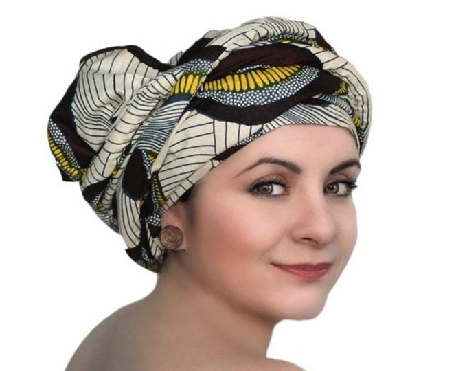 ON SALE Save 40% Brown Creme Navy Swirl African Wax Print Turban Dreads Wrap, Head Wrap, Alopecia Scarf, Chemo Hat, Boho Gypsy Tribal, One P