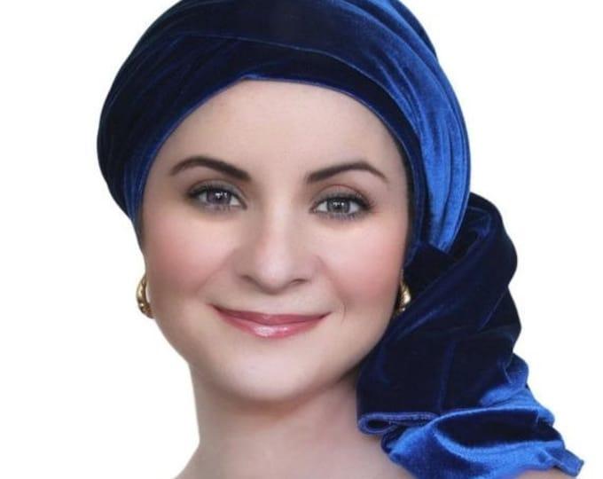 ON SALE Save 30% Turban Diva Cobalt Blue Velvet Turban, Head Wrap, Chemo Hat, Alopecia Scarf, Hat & Scarf Set