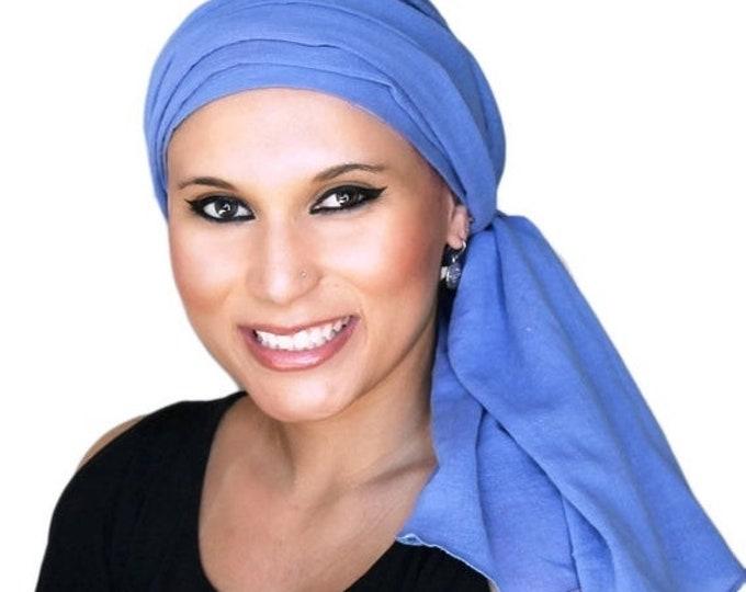 RETIREMENT SALE Turban Diva Denim Blue Turban Hat, Head Wrap Chemo Hat, Cancer Turban Cotton Gauze, Hat & Scarf Set