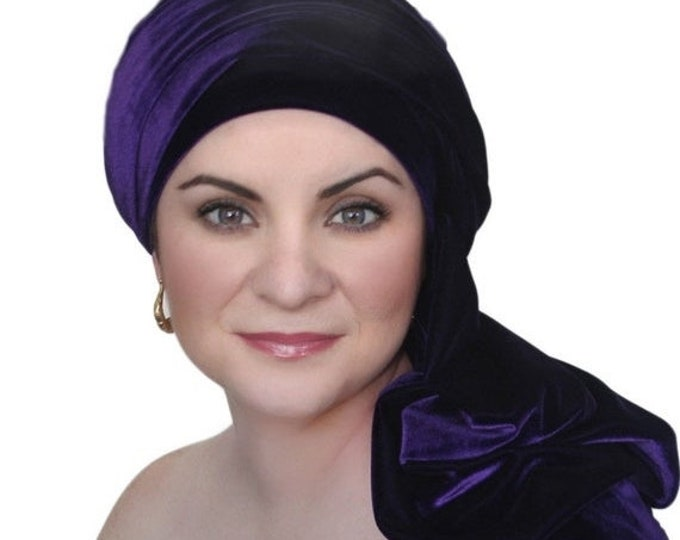ON SALE Save 30% Turban Diva Purple Velvet Turban, Head Wrap, Chemo Hat, One Piece Wrap, Fitted Turban
