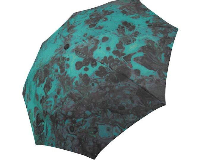Automatic Open/Close Umbrella, Gift, Green, Black, Red, Abstract