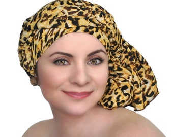 Turban Diva Leopard Turban Chemo Head Wrap Alopecia Scarf, One Piece Fitted Wrap