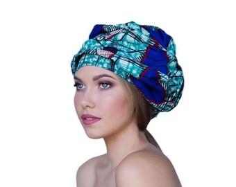 ON SALE Save 40% ON Sale Save 40 Percent Turban Diva African Wax Print Turban Dreads Wrap, Purple Teal Black Head Wrap, , Chem