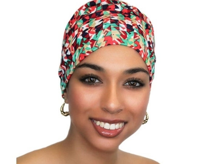 ON SALE Save 25% Chemo Hat, Sleep Hat, Alopecia Cap, Scarf Liner, Slouch Hat, Pre-tied Turban, Confetti